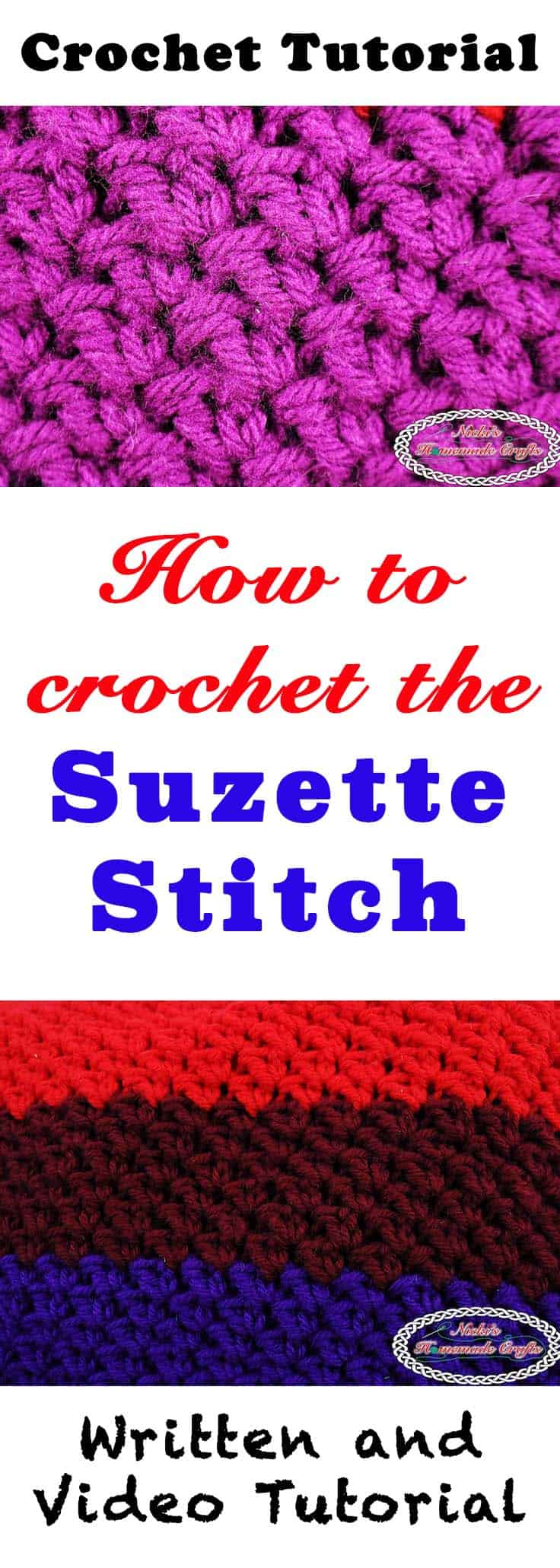 How to crochet the Suzette Stitch - Crochet Stitch Tutorial by Nicki's Homemade Crafts #suzette #crochet #tutorial #stitch #howto #learn #video #teach #easy
