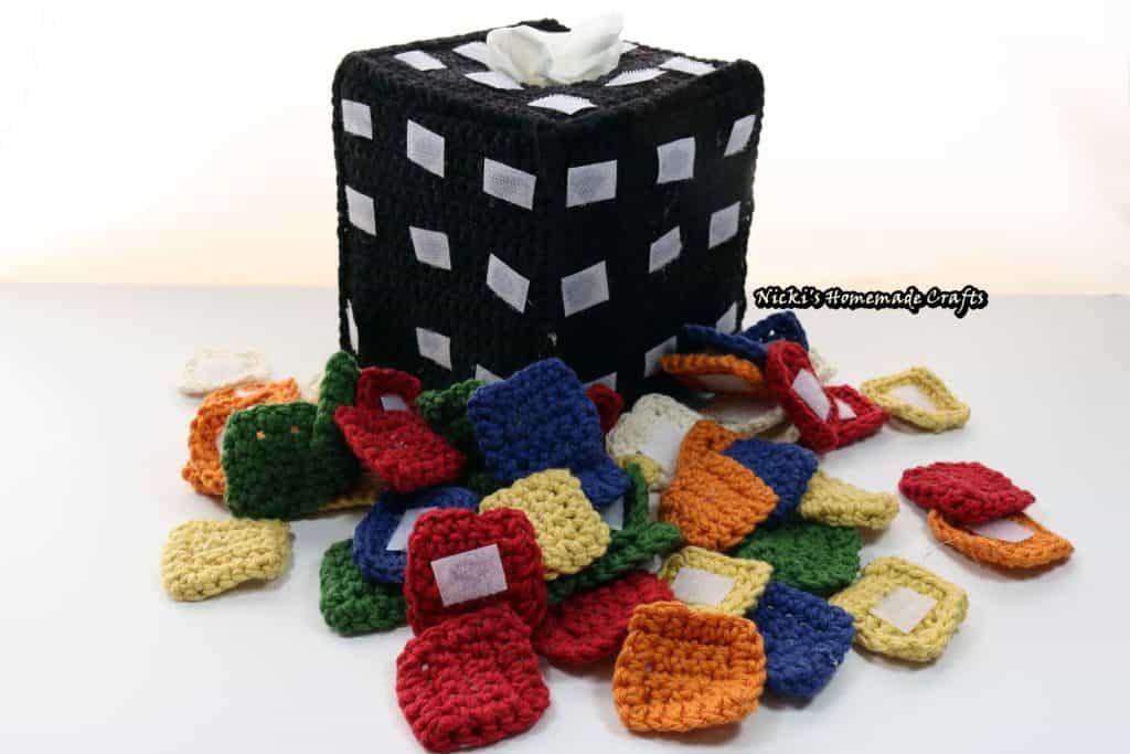 crochet Rubik's cube tiles and tissue box cover