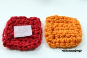 red and orange crochet Rubik's cube tiles with velcro