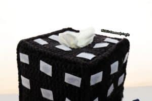 black tissue box cover with velcro for crochet Rubik's cube tiles