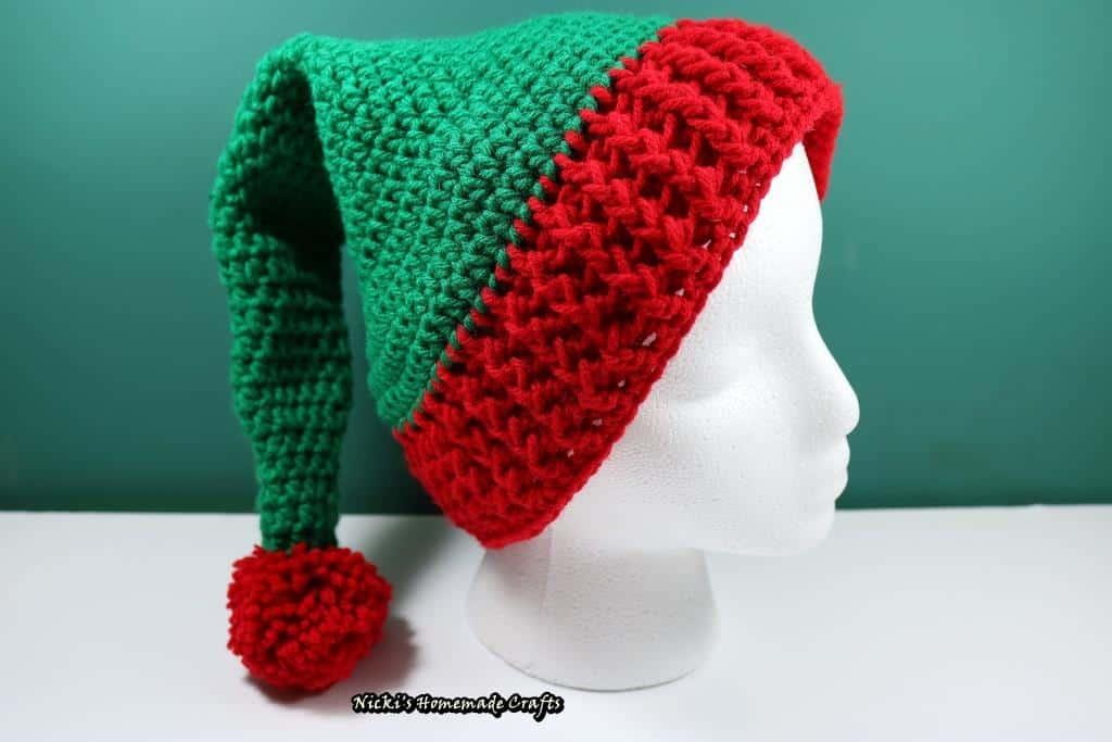 Riley Crochet Baby Hat Pattern : Elf Hat with Pom-Pom - Free Crochet Pattern - Nickis ...