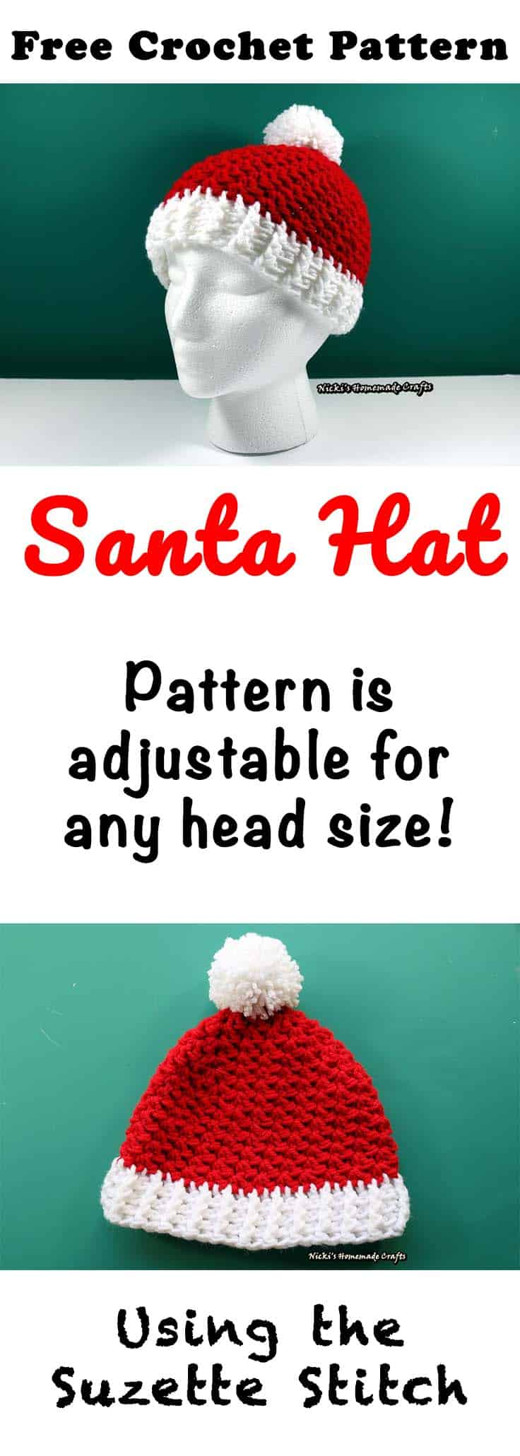 Santa Hat with Pom-pom - Free Crochet Pattern by Nicki's Homemade Crafts #crochet #Santa #christmas #hat #beanie #suzette #stitch #beginner #easy