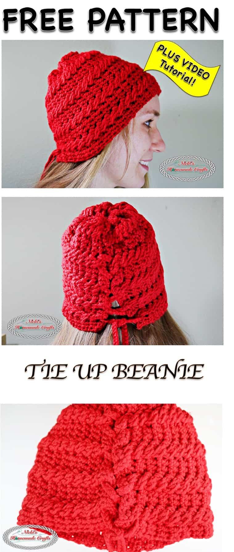 Tie Up Beanie - Free Crochet Pattern