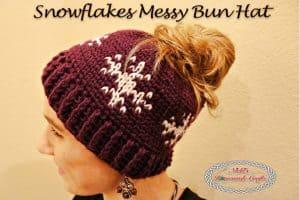 Snowflakes Messy Bun Hat – Free Crochet Pattern