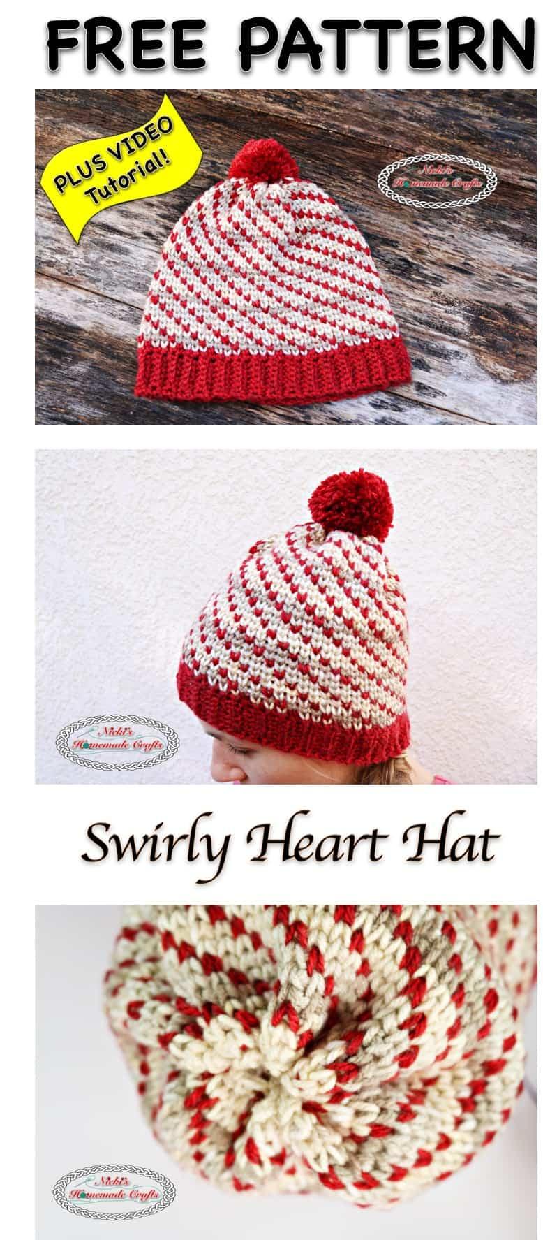 Swirly Heart Hat - Free Crochet Pattern