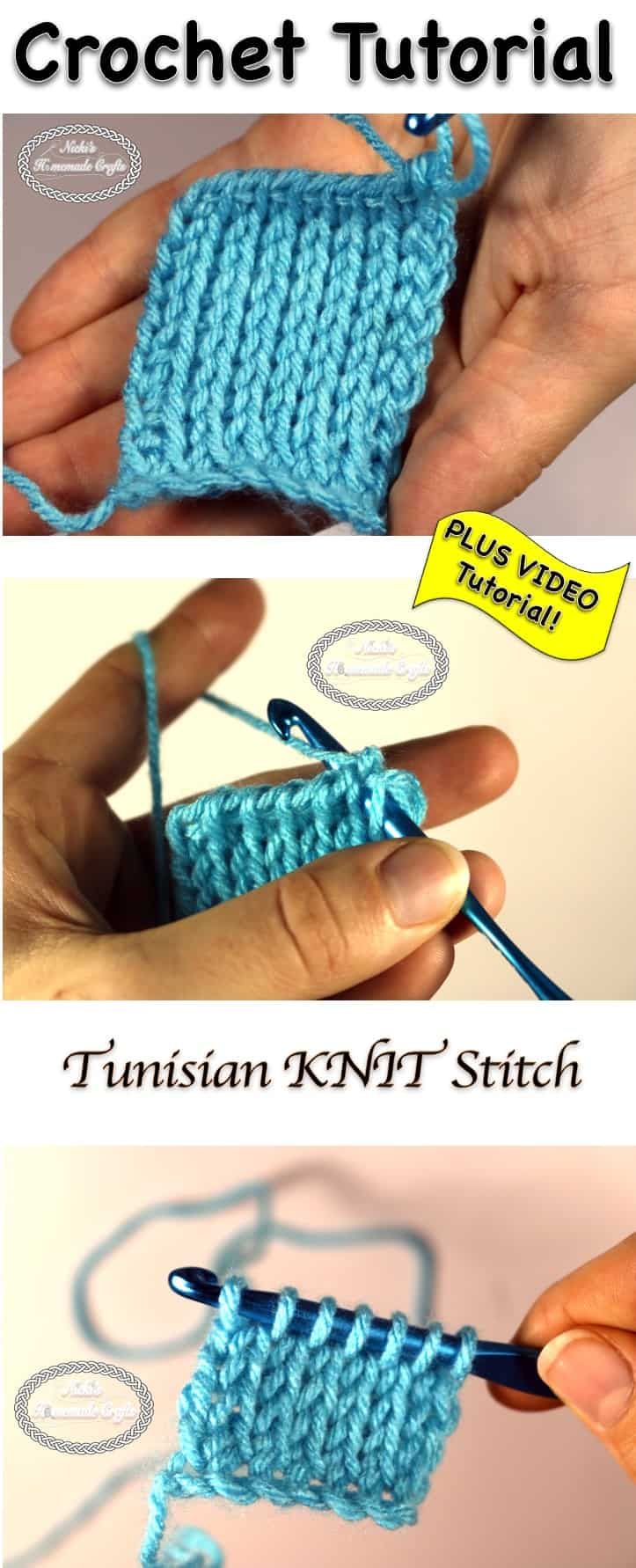 Tunisian Knit Stitch Crochet Tutorial