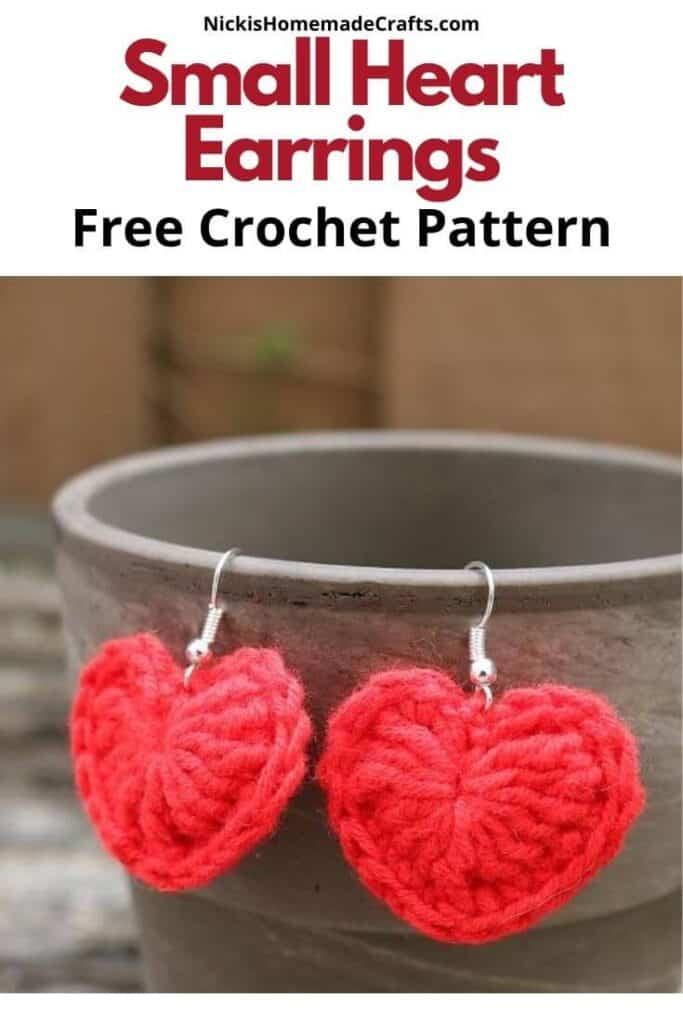 Crochet Small Heart Earrings Pattern