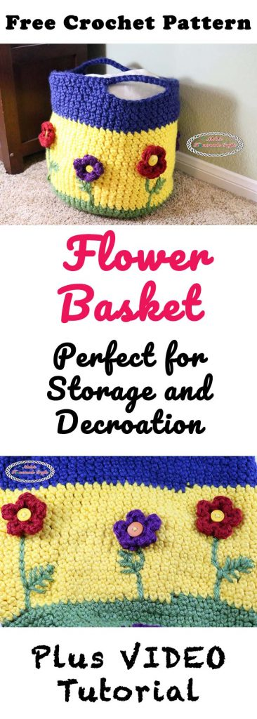 Crochet Flower Basket Free Crochet Pattern by Nicki's Homemade Crafts