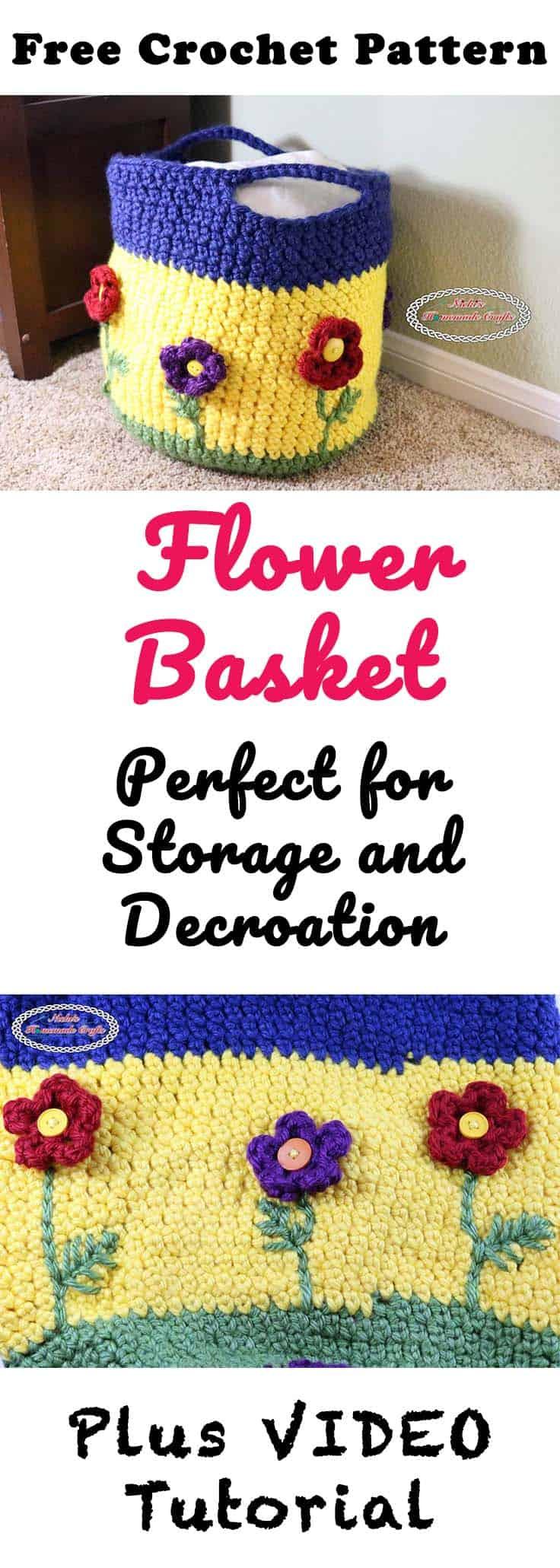 Flower Basket Free Crochet Pattern by Nicki's Homemade Crafts #crochet #flower #basket #spring #button