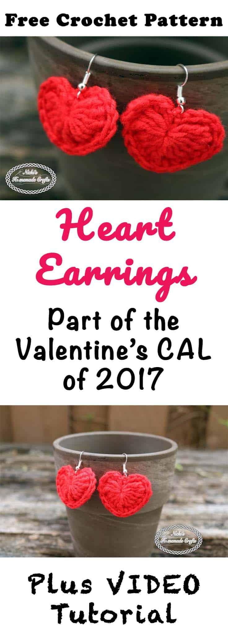 Small Heart Earrings - Free Crochet Pattern by Nicki's Homemade Crafts #crochet #freecrochetpattern #heart #love #valentinesday #earrings