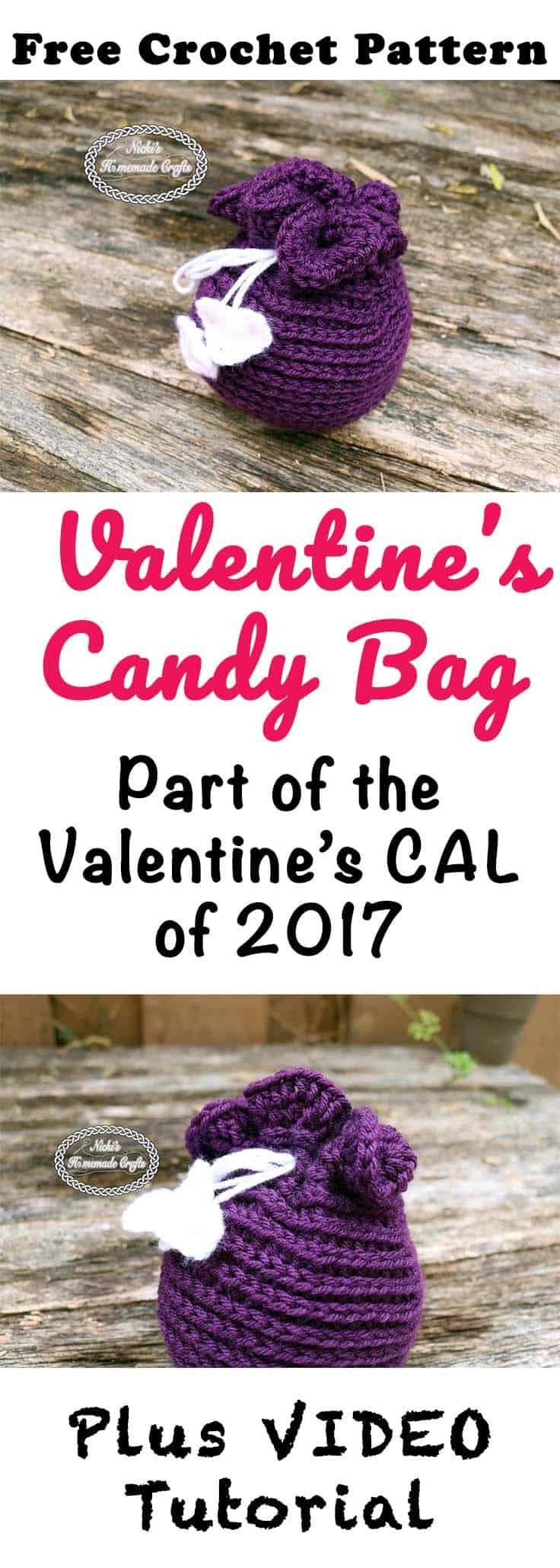 Valentine's Candy Bag - Free Crochet pattern by Nicki's Homemade Crafts #crochet #freecrochetpattern #valentinesday #candybag