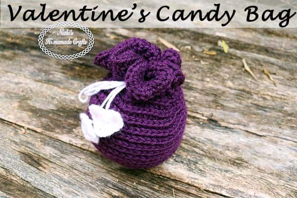 Valentine's Candy Bag - Free Crochet pattern by Nicki's Homemade Crafts