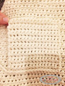Inside of the crochet bag pocket