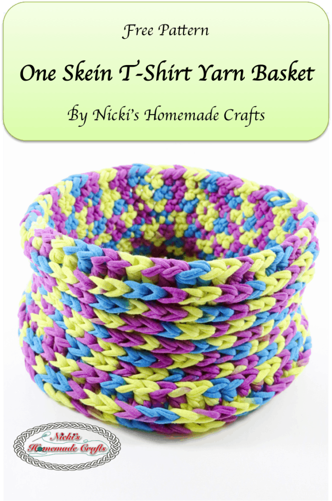 Free Crochet Patterns Tshirt Yarn : One Skein T-Shirt Yarn Basket - Free Crochet Pattern ...