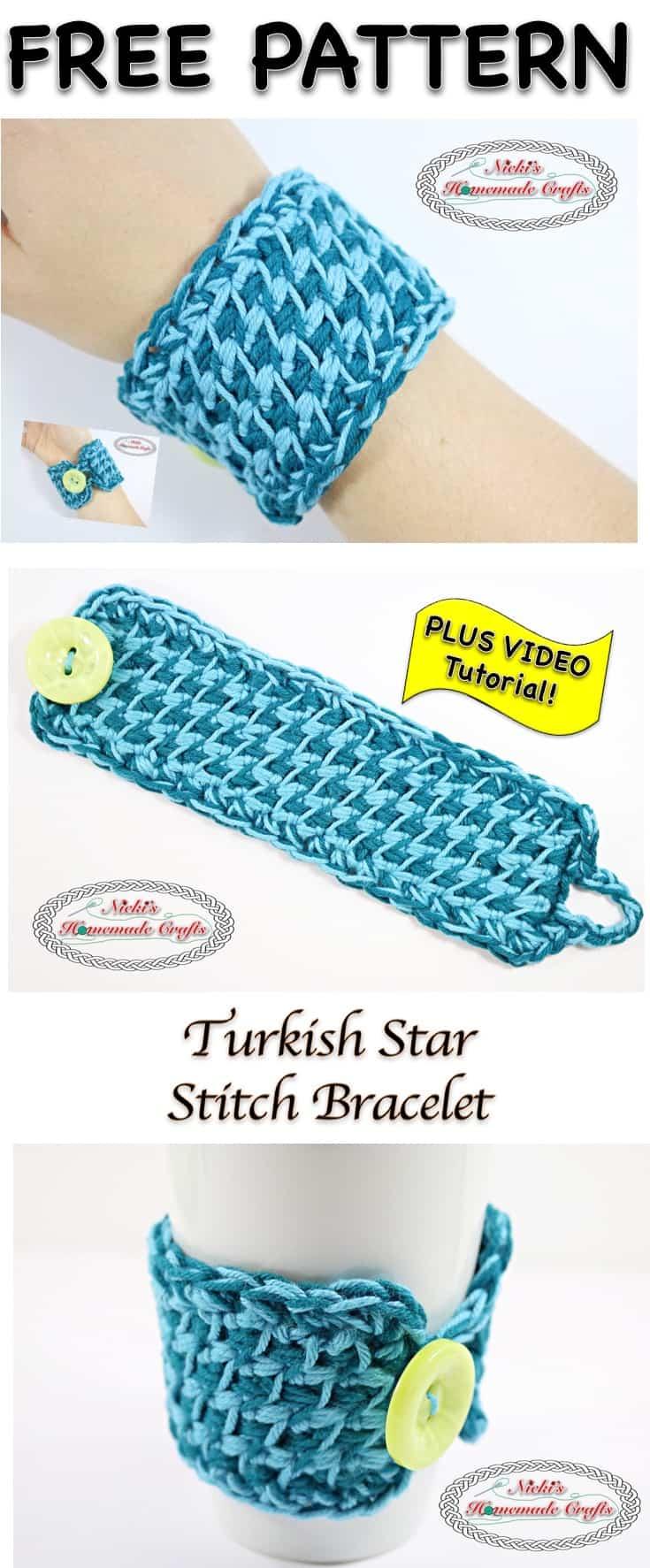 Turkish Star Stitch Bracelet - Free Crochet Pattern and Tutorial by Nicki's Homemade Crafts