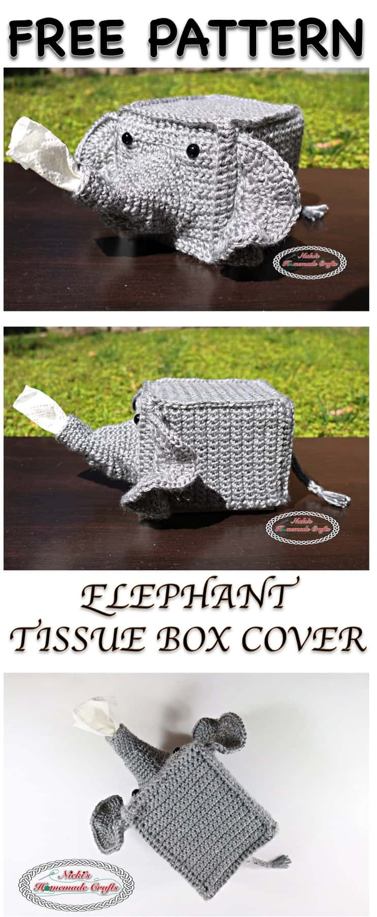 Elephant tissue box cover free crochet pattern nicki 39 s for Tissue box cover craft