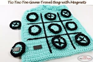 Tic Tac Toe Game as Travel Bag with Magnets – Free Crochet Pattern