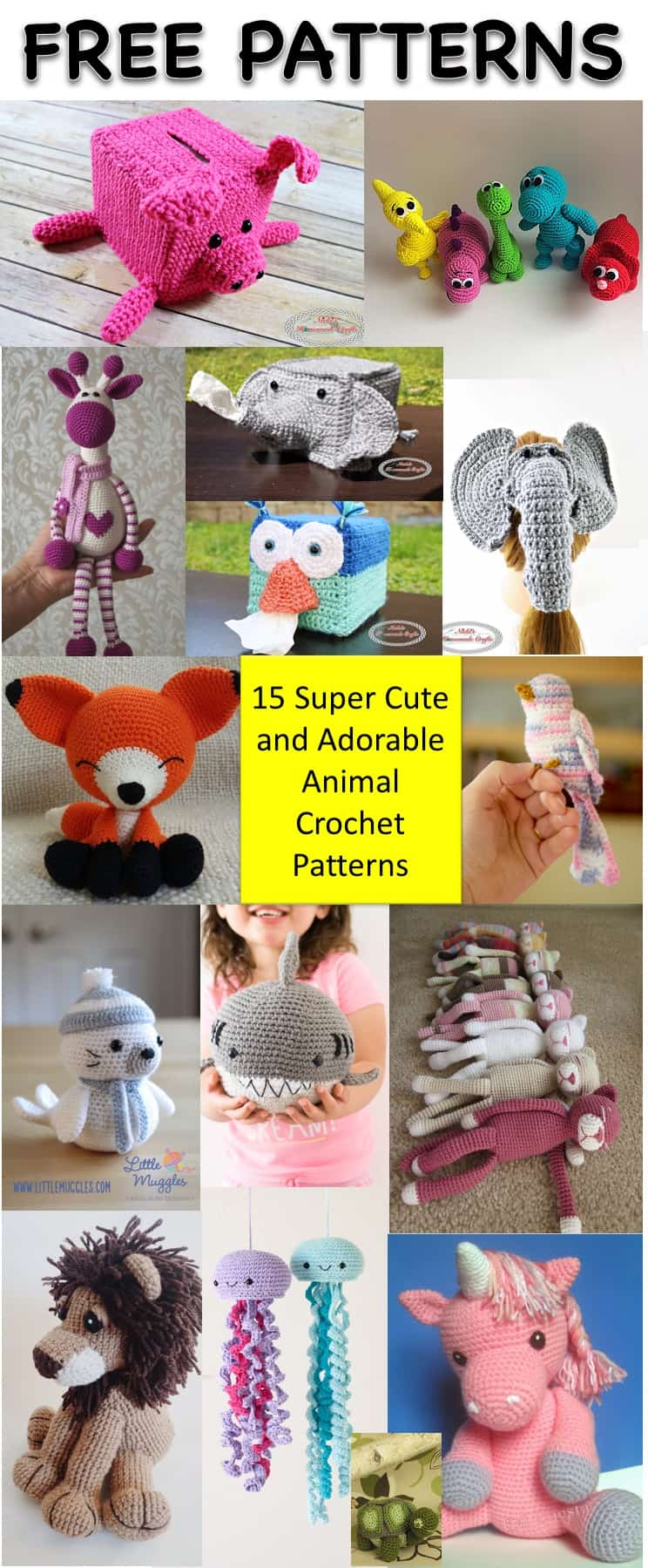 15 Super Adorable Free Animal Patterns - Collection by Nicki's Homemade Crafts