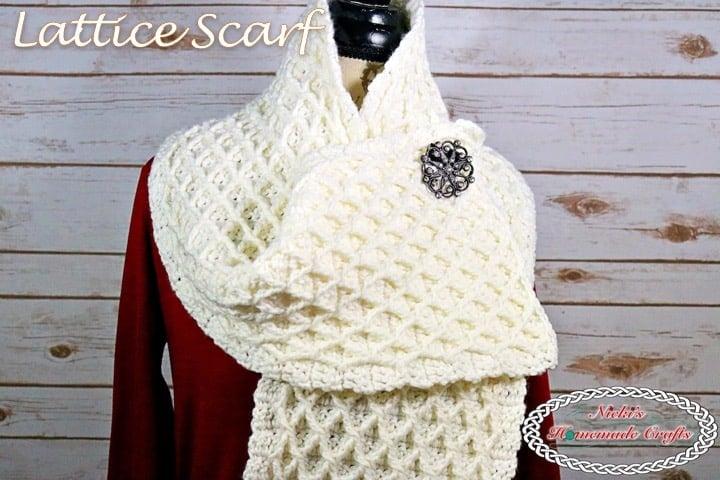 Beautiful Crochet Lattice Stitch Scarf – Free Pattern