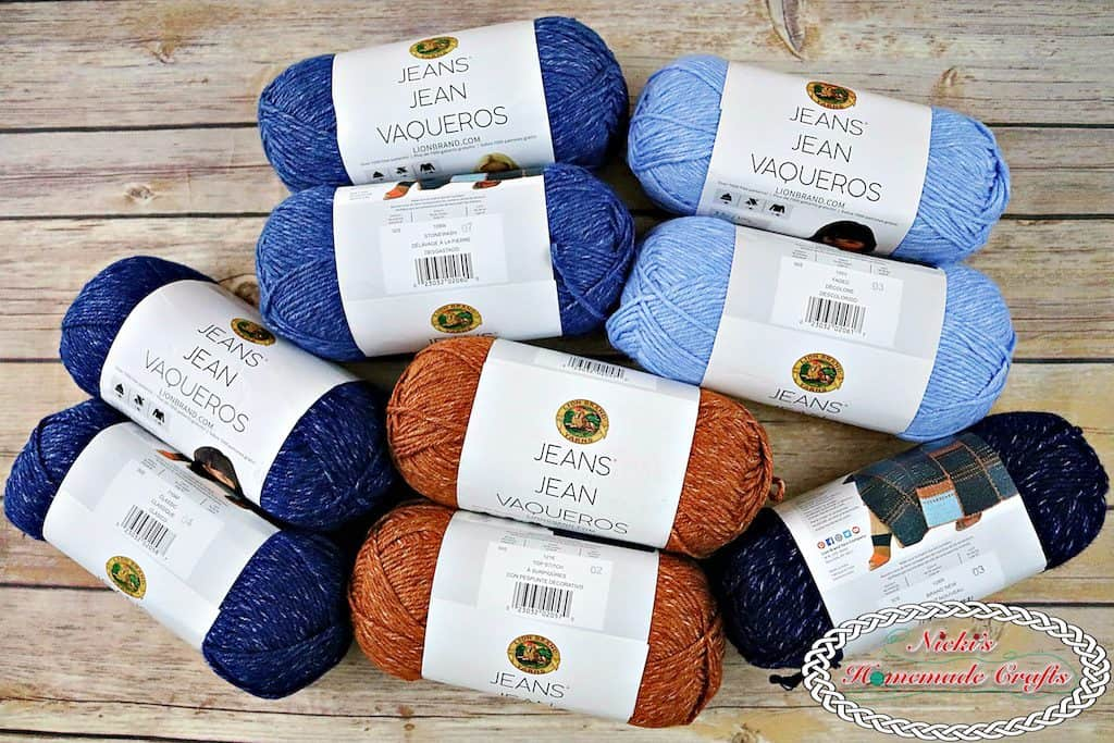 Lion Brand Jeans Yarn for Modular Pocket Bag Crochet Along by Nicki's Homemade Crafts