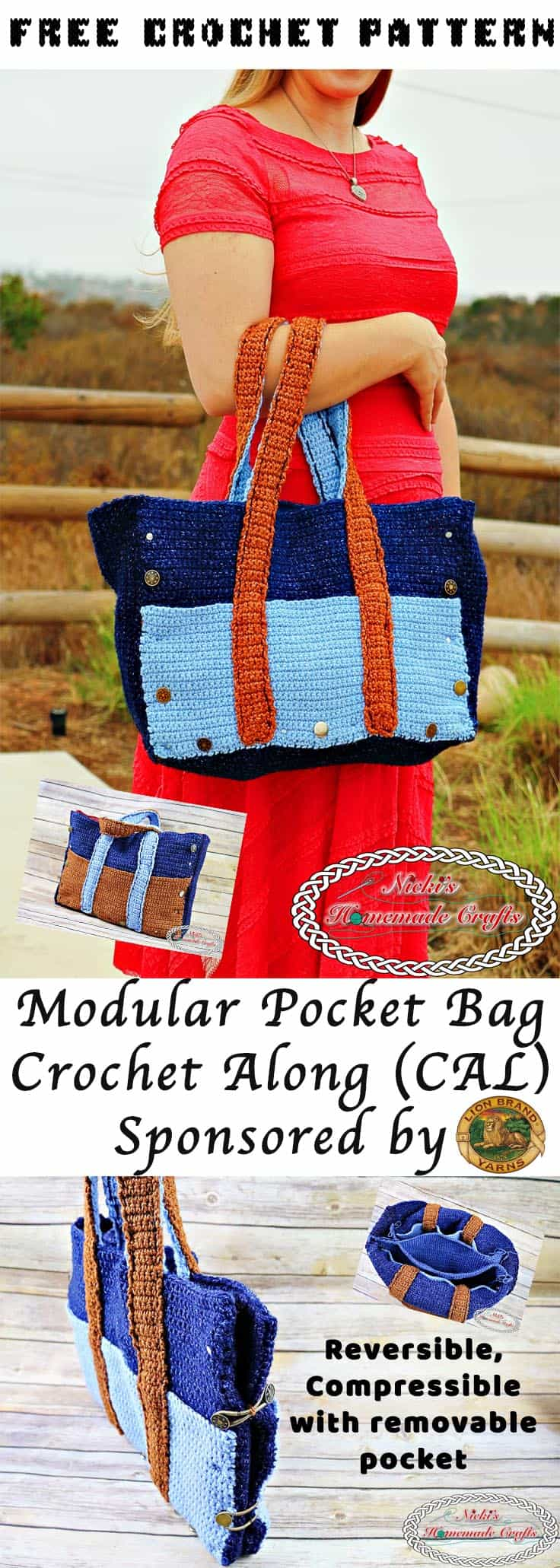 Modular Pocket Bag Crochet Along - Free Crochet Pattern - Sponsored by Lion Brand Yarns, designed by Nicki's Homemade Crafts #crochet #crocheting #crochetalong #crochetbag #bag #lionbrand #freecrochetpattern