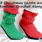 Adult Christmas Santa and Elf Booties Crochet Along by Nicki's Homemade Crafts #crochet #christmas #santa #elf #booties #boots