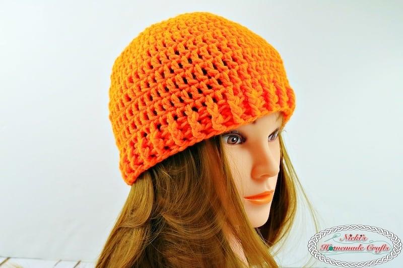 orange crochet hat