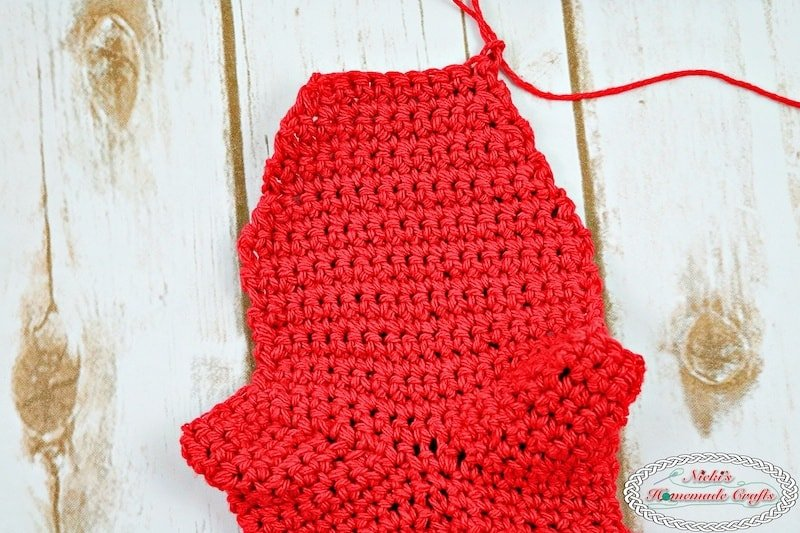 foot part of the Adult Christmas Santa and Elf Booties - Free Crochet Pattern