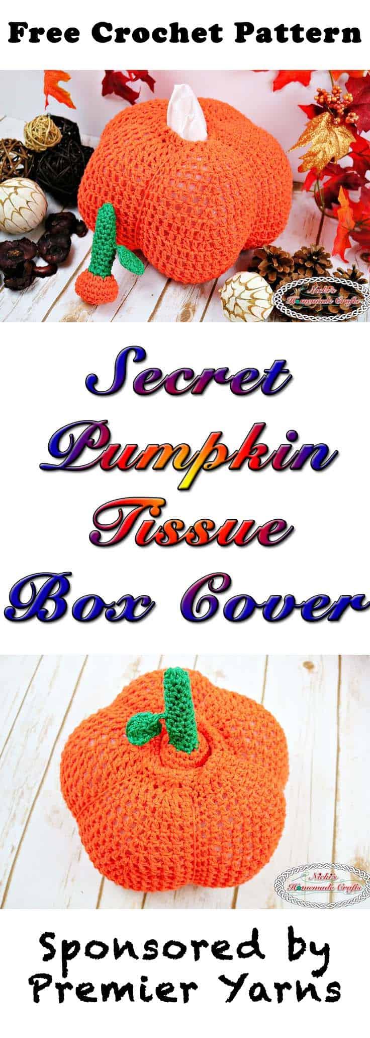 Secret Pumpkin Tissue Box Cover - Free Crochet Pattern - by Nicki's Homemade Crafts #crochet #tissuebox #pumpkin #freecrochetpattern #halloween #thanksgiving