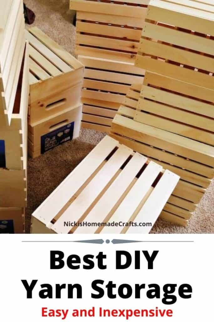 wooden crates for yarn storage