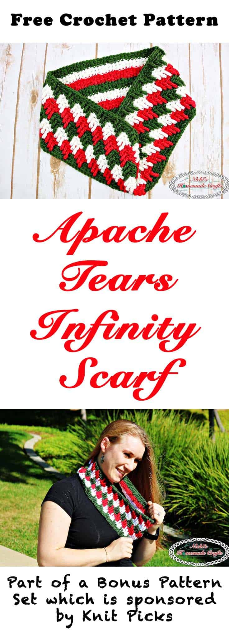 Apache Tears Infinity Scarf - Free Crochet Pattern by Nicki's Homemade Crafts #crochet #crochetalong #knitpicks #freecrochetpattern #infinityscarf #apachetears
