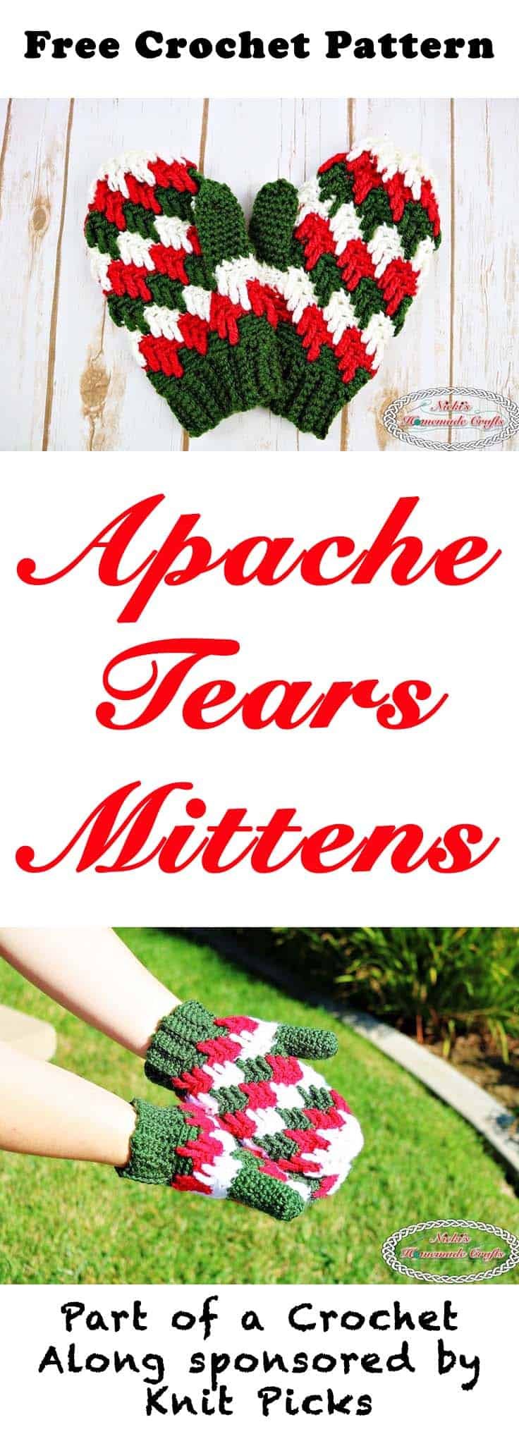 Apache Tears Mittens - Free Crochet Pattern - Crochet Along by Nicki's Homemade Crafts #crochet #freecrochetpattern #mittens #gloves #apachetears #crochetalong #knitpicks
