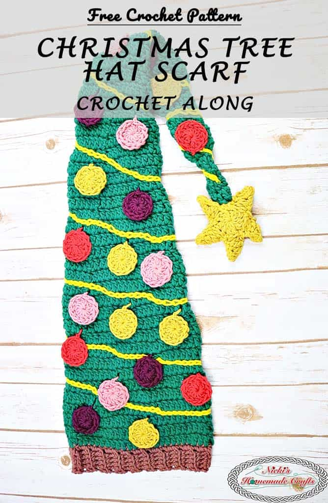 Christmas Tree Hat Scarf shows many colorful Christmas ornaments and lights as well as a Christmas Star with a tree trunk - Free Crochet Pattern Crochet Along by Nicki's Homemade Crafts This Crochet Along is sponsored by DMC yarn and is super easy to make. And did I mention it is really fun to crochet and bring lots of join to the one wearing it. #crochet #christmas #tree #hat #scarf #ornaments #lights #crochetpattern #freecrochetpattern #free