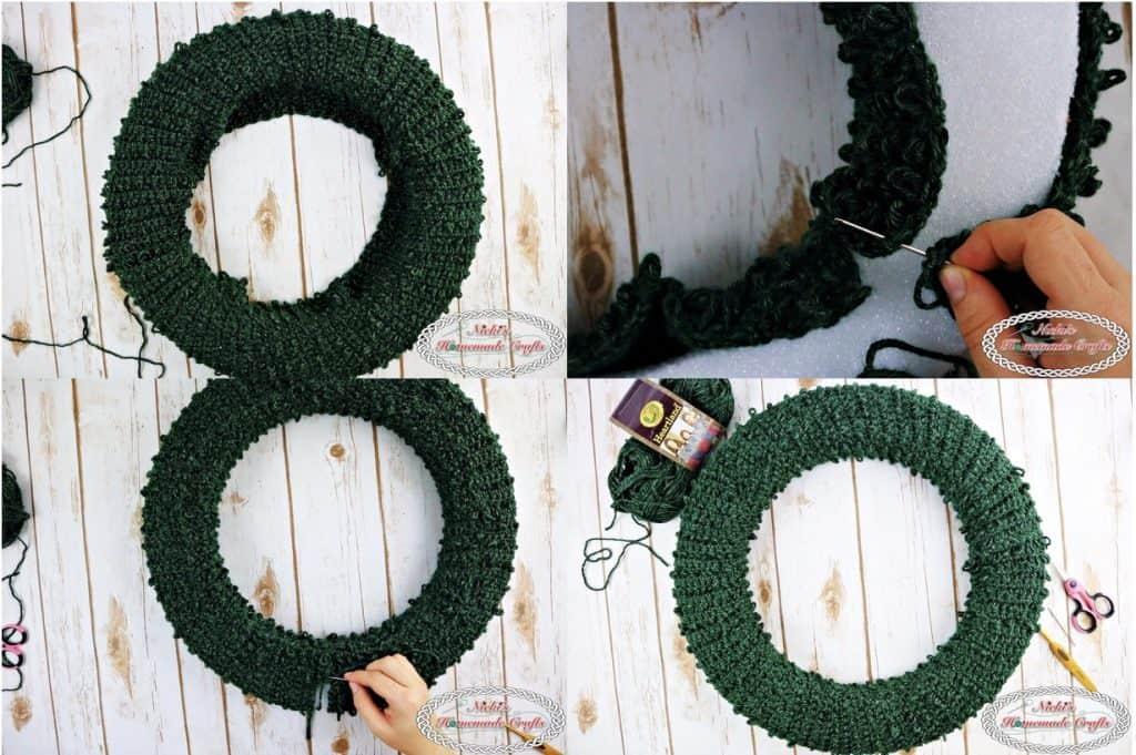 Sewing together the crocheted loop stitch rectangle to make a wreath