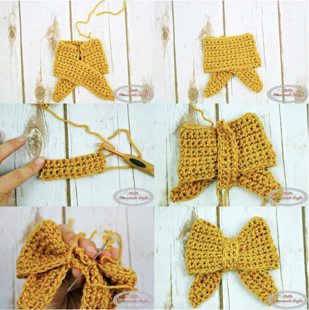 Crochet a Yellow Bow with free crochet pattern