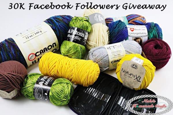 30K Facebook Followers Giveaway, 3 Winner, lots of yarn by Nicki's Homemade Crafts