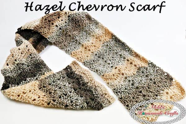 Hazel Chevron Scarf which is a Free Crochet Pattern and uses the Peephole Chevron Stitch by Nicki's Homemade Crafts #chevron #hazel #barcelona #yarn #stitch #peephole #tutorial #video #free #crochet #pattern