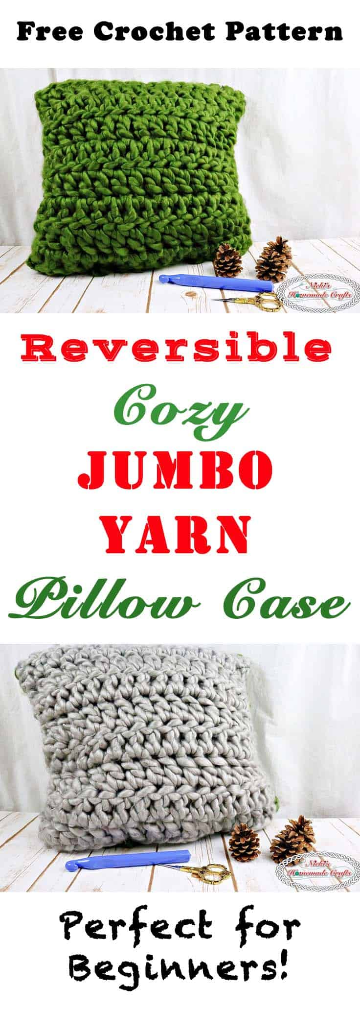 Reversible Cozy Jumbo Yarn Pillow Case Free Crochet Pattern by Nicki's Homemade Crafts #crochet #diyhomedecor #dy #home #decor #pillow #case #free #pattern #jumbo #yarn #reversible #cozy #easy #fast
