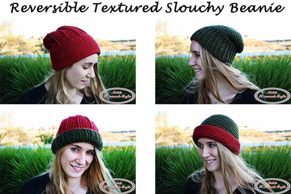 Reversible Textured Slouchy Beanie - Red Green - Free Crochet Pattern -Nicki's Homemade Crafts #crochet #slouchy #free #pattern #red #green #textured #christmas #reversible #beanie #hat