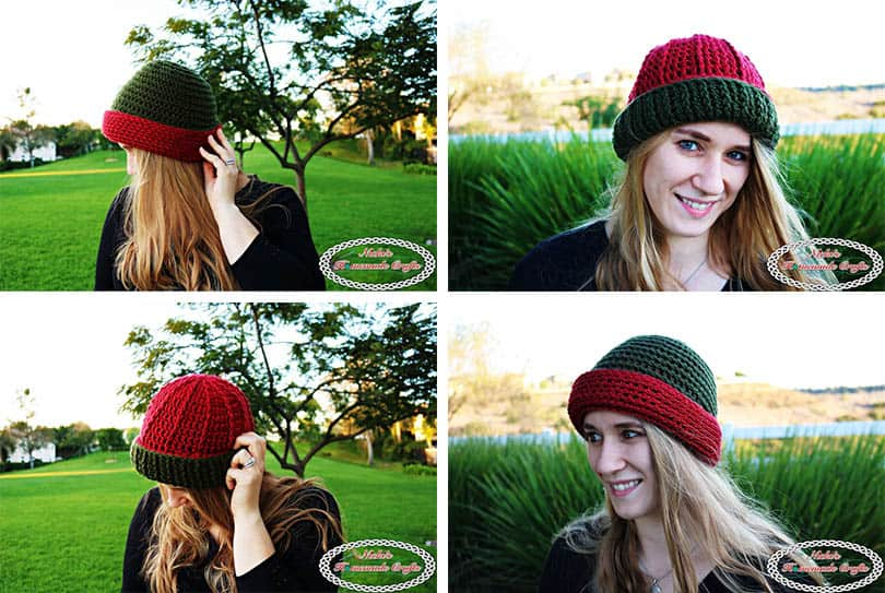 Reversible Textured Slouchy Beanie - Red Green with flipped over ribbing edge for the beanie with horizontal lines and vertical lines- Free Crochet Pattern -Nicki's Homemade Crafts #crochet #slouchy #free #pattern #red #green #textured #christmas #reversible #beanie #hat