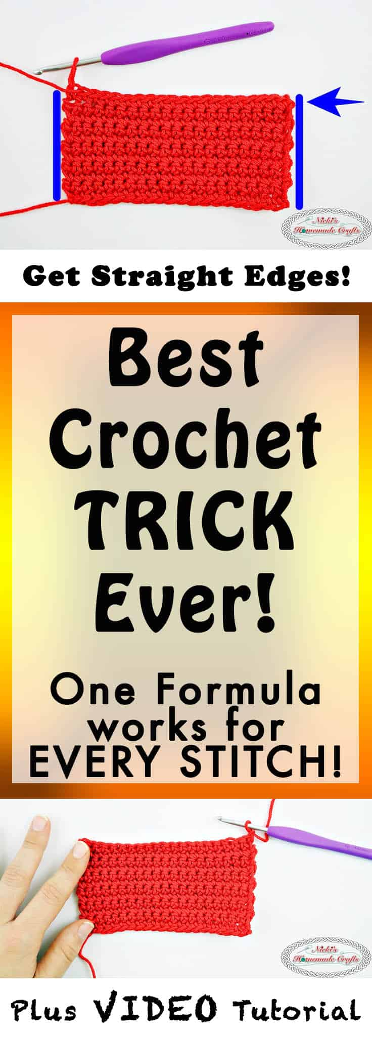 Best Crochet Trick Ever for Crochet Straight Edges in Rows Every Time