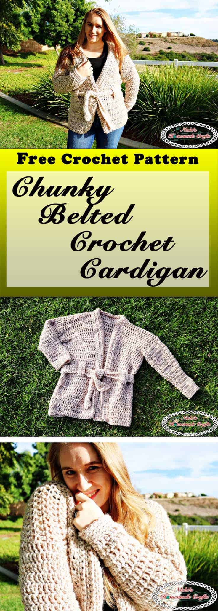 This Chunky Belted Crochet Cardigan is super soft and cozy and has a belt around it. It has a neutral color so it can be both man and women. Chunky Belted Crochet Cardigan - Free Crochet Pattern by Nicki's Homemade Crafts #crochet #cardigan #free #crochet #pattern #cardigan #chunky #belted #easy #fast
