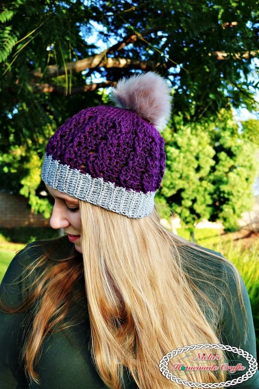 Ribbed Cable Textured Beanie - Free Crochet Pattern by Nicki's Homemade Crafts  #freecrochetpattern #free #crochet #pattern #beanie #ribbed #cable #textured #pompom