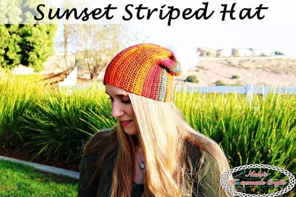 Sunset Striped Hat - Free Crochet Pattern by Nicki's Homemade Crafts #striped #crochet #hat #redheart #unforgettable #yarn