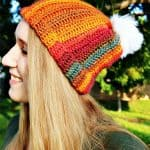 Sunset Striped Hat - Free Crochet Pattern by Nicki's Homemade Crafts #striped #crochet #hat #redheart #impeccable #yarn