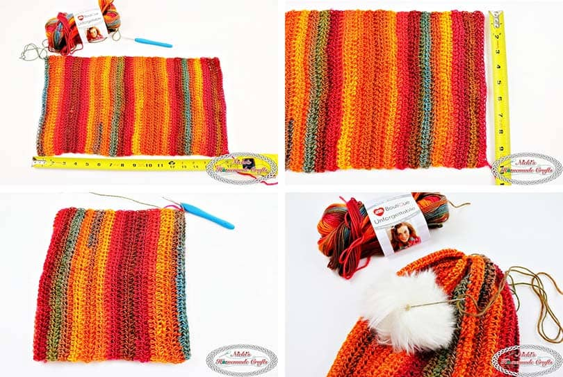 Sunset Striped Hat - Free Crochet Pattern by Nicki's Homemade Crafts - this picture shows how to actually make the Sunset Striped Hat by slip stitching and sewing it together and adding a faux fur pom-pom. #striped #crochet #hat #redheart #unforgettable #yarn