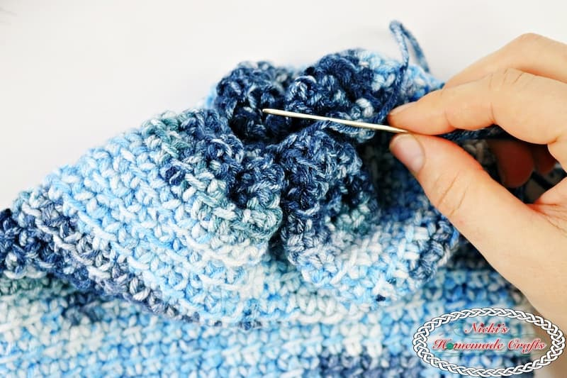 Finishing the Denim Blues Hat which is a Free Crochet Pattern by Nicki's Homemade Crafts
