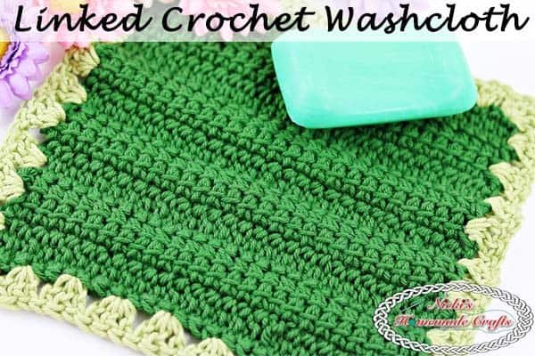 Linked Crochet Washcloth which is a Free Crochet Pattern by Nicki's Homemade Crafts