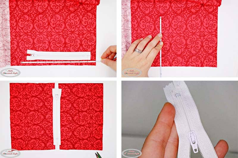 How to add the zipper to the lining of the Easy Crochet Zipper Pouch as a free crochet pattern