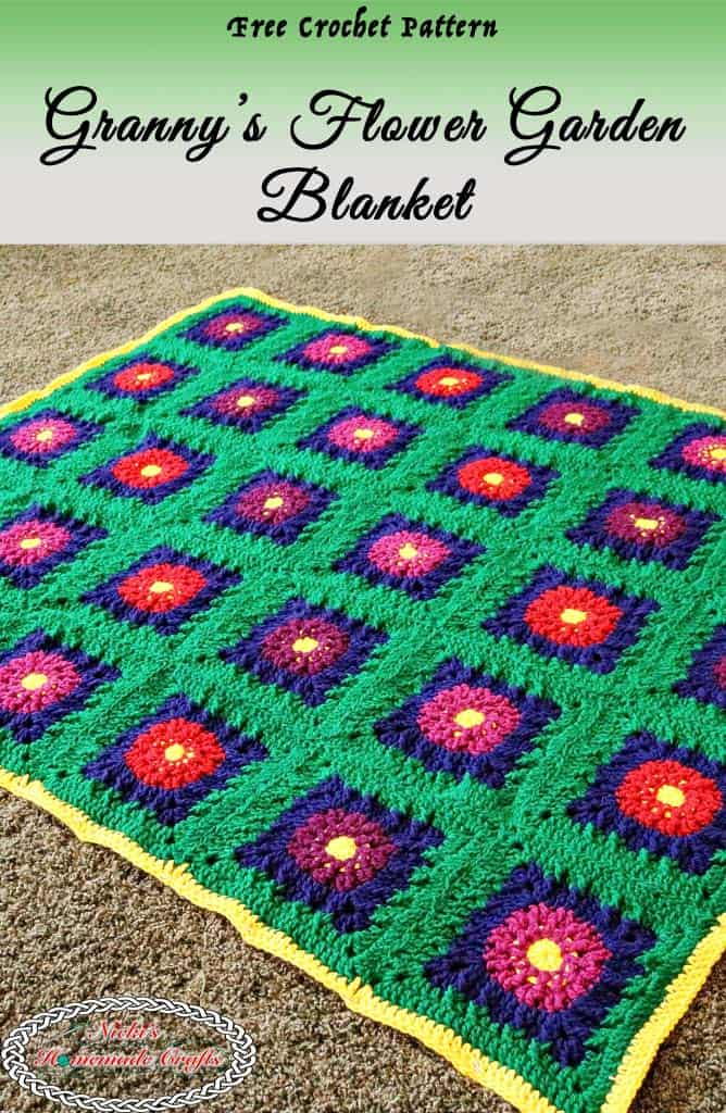 Granny's Flower Garden Blanket is a free crochet pattern as part of a Crochet Along, blanket, crochet flowers, flowers, garden, colorful blanket, flower blanket, yellow border